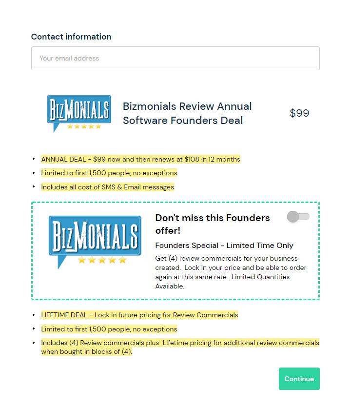 bizmonials.com Founders Annual Special